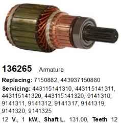 Якорь стартера 136265 CARGO